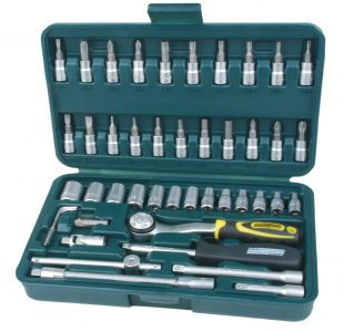 "46-pcs Socket Set from Brüder Mannesmann Werkzeuge-German Quality Specifications:Extension 1 x ¼ ""50 mmflexible Ratchet ¼ Slider Universal joint ¼"