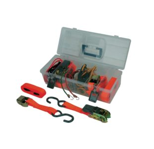 8pcs Tie Down kit by Mannesmann tools. Consists of various straps with S-hook and ratchet, elastic lashing straps.